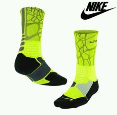 Nike K LBJ Hyper Elite Dri Fit Socks Neon Green Black SX4885 733 Sz L 8 12 $20 | eBay