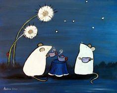 Mouse Tea Party Kids Art Print Woodland Blue Animal Wall Art Nursery Decor Storybook Children's Art