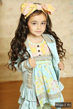 Mustard Pie Clothing Spring 2015 - Girls Boutique Clothing for Spring, Easter & Special Occasions Girls Boutique, Boutique Clothing, Boutique Dresses, Young Fashion, Kids Fashion, Tween Girls, Beautiful Children, Cute Kids, Kids Outfits