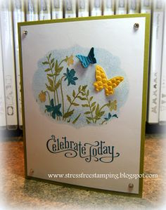 Stress-Free Stamping with Shana: Finished! Stamp Sets: Just Believe, Perfectly Penned -  Cardstock: Daffodil Delight, Island Indigo, Lucky Limeade, Whisper White - Ink: Daffodil Delight, Island Indigo, Lucky Limeade - Tools: Labels Collection Framelits, Beautiful Wings Embosslit, sponge - Accessories: Basic Rhinestones
