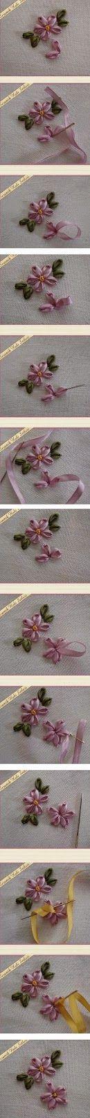 Minha Casinha Rosa: Bordado feito com fita de cetim - Flores.