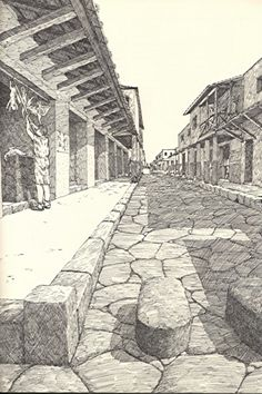 Roman street with crosswalk ~ David Macaulay Ancient Rome, Ancient Art, Ancient History, Roman Architecture, Ancient Architecture, Roman Roads, Pompeii And Herculaneum, Empire Romain, Roman City