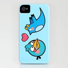 Love Birds (Angry Blue Bird meets Twitter Bird) iPhone Case