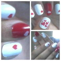 Red and White Valentine day nail designs