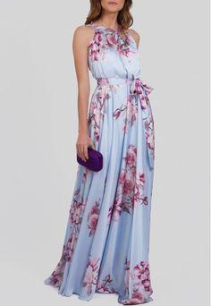 Vestido longo de cetim azul com estampa floral Powerlook - powerlook
