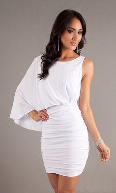 Short Form Fitting White Cocktail Dress One Shoulder Sleeve