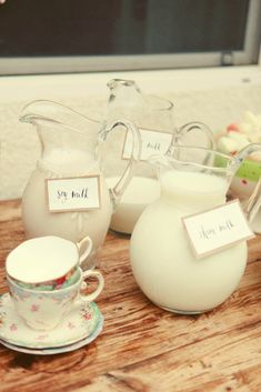kids party- milk in different jugs with signs (soy, whole, nonfat, etc.)