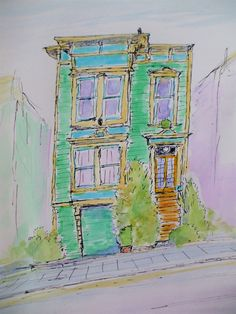 Victorian Town House, San Francisco set by Tony Underhill and sent in by James Foxworthy The Artist Magazine, Pen And Wash, Town House, Magazines, Exercises, San Francisco, Victorian, Painting, Watercolor