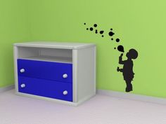 Boy Blowing Bubbles Toddler Summer Spring - Decal Sticker Vinyl Wall Home Daycare Playroom Decor Vinyl Wall Stickers, Vinyl Wall Art, Nursery Wall Art, Wall Decals, Boy Decor, Playroom Decor, Wall Sticker Inspiration, Bubble Drawing, Daycare Design