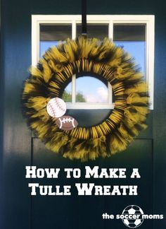 Make a football wreath to support your favorite team. Christmas Mesh Wreaths, Deco Mesh Wreaths, Yarn Wreaths, Door Wreaths, Winter Wreaths, Floral Wreaths, Burlap Wreaths, Spring Wreaths, Ribbon Wreaths