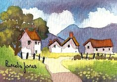 ACEO Original Watercolour English Hillside by Pamelajonesartstudio