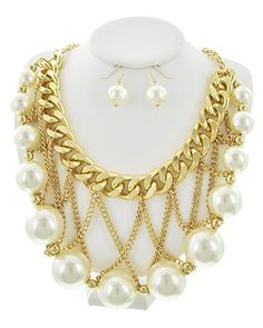 Gold Tone / Synthetic Pearl / Lead&nickel Compliant / Metal / Fish Hook (earrings) / Necklace & Earring Set