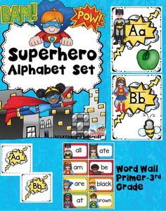 Superhero Themed Alphabet Posters Word Wall Header and Cards   26 Superhero…