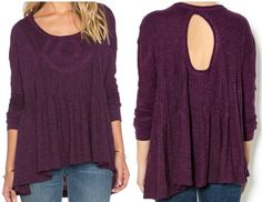 Free People Cut-out Lace Pintuck Swing Top African Violet