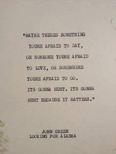 THE JOHN GREEN: Typewriter quote on 5x7 cardstock on Etsy, $5.00