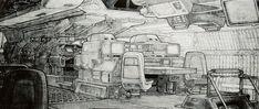 Alien Concept Art: Nostromo Bridge by Ron Cobb