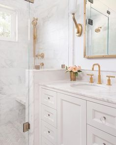 French Cottage Bathroom Inspiration round-up. A great way to get your creative j… – Marble Bathroom Dreams Guest Bathroom Remodel, Bathroom Renos, Bathroom Marble, Bathroom Cabinets, Narrow Bathroom, Brass Bathroom Fixtures, Dyi Bathroom, Marble Tiles, Bathroom Hardware