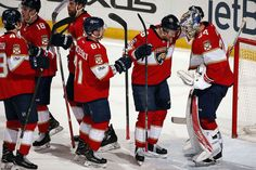 SUNRISE, FL - FEBRUARY 3: The Florida Panthers celebrate their 2-1 win over the Anaheim Ducks at the BB&T Center on February 3, 2017 in Sunrise, Florida. (Photo by Eliot J. Schechter/NHLI via Getty Images)