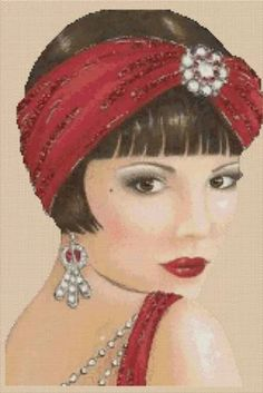 Art Deco Lady with Red Head Scarf. Finished Size: count) W x H. This photograph is of the chart once completed. Art Deco Illustration, Illustrations Vintage, Vintage Prints, Vintage Art, Art Deco Cards, Decoupage, Art Deco Stil, 1920s Art, Cross Stitch Art