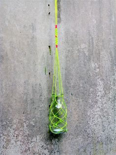 Neon yellow Macrame fishing net flower hanger - vintage inspired milk bottle
