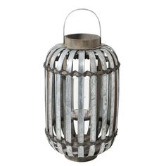 #Pintratuin,Windlicht Malia zink. Dit stoere windlicht van zink geeft door de stroken een speels schijnsel. #intratuin