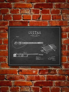 1896 Guitar Patent Art Decor Drawing. Available as poster or canvas in various colors. #decor #inventions #patents #instruments