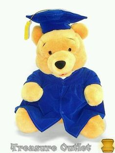 Disney Stuffed Plush Graduation Winnie The Pooh Bear Wearing Cap And Gown 12in                                                                                                                                                      More
