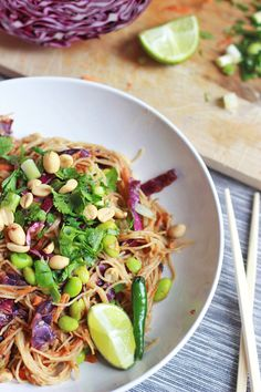 This looks amazing!! Stir Fried Pad Thai Noodles with Peanut Sauce, Vegan and Gluten Free