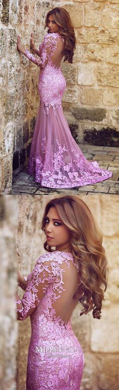 Long Prom Dresses With Sleeves,Pink Prom Dresses Mermaid,Modest Prom Dresses Lace,Long Sleeve Prom Dresses Elegant