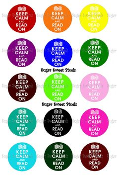 INSTANT DOWNLOAD Keep Calm Read On 1 inch circle by sugarnspicebow, $1.59
