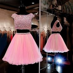 Pink Homecoming Dress with Piece Homecoming Dresses,Beading Homecoming Gowns,Short Prom Gown,Sweet 16 Dress,Bling Homecoming Dress 2 Piece Homecoming Dresses, Prom Dresses For Teens, Prom Gowns, Graduation Dresses, Dress Prom, Gown Dress, Sheer Dress, Wedding Gowns, Ball Gowns