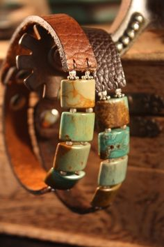 Turquoise and leather bracelets. LOVE!!!!!!!!! - Click image to find more jewelry posts