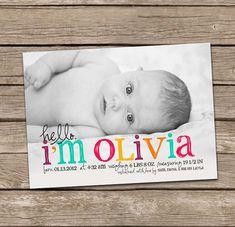 Birth Announcement : Hello Olivia Baby Girl Custom por deanworks