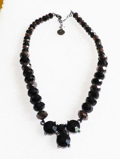 Fashion LC Lauren Conrad signed Black glass rhinestone centerpiece Necklace 18.5 | eBay
