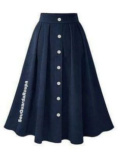 Casual Pleated Skirt 2018 Fall Winter A Line Button Retro Elastic Wasit Midi Calf Skirts Dark Blue Dark Jupe Saia Dark Mode Outfits, Skirt Outfits, Dress Skirt, Midi Skirt, Pleated Skirt, Modest Fashion, Hijab Fashion, Fashion Dresses, Women's Fashion