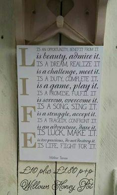 Handmade quote plaque
