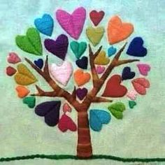 Arbol del amor - They have hearts! Mexican Embroidery, Hand Embroidery Patterns, Embroidery Art, Cross Stitch Embroidery, Machine Embroidery, Embroidery Designs, Crazy Quilting, Wool Applique, Embroidered Flowers