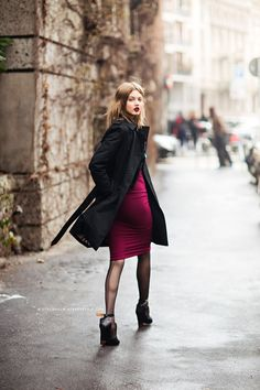 Lindsey Wixson in a sexy little red number and platforms. In Milan