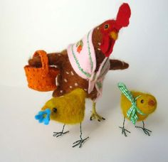 Needle Felted Animals Spring Chicken and Chicks by MissBumbles