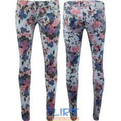 Womens Jeggings Flower Print Skinny Fit Ladies Full Length Jeans... ❤ liked on Polyvore featuring pants, trousers, jeans, floral pants, skinny pants, floral jeggings, floral skinny pants and skinny jeggings