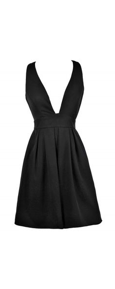 Dip and Twirl Plunging Neckline A-Line Dress in Black  www.lilyboutique.com