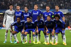 The Chelsea team pose for the cameras prior to kickoff the UEFA Champions League Group G match between Chelsea and FC Schalke 04 on September 17, 2014 in London, United Kingdom.