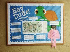 My first RA bulletin board! Goes along with my Finding Nemo door decs. It has a map of the campus with descriptions of a few important places. Our boards have to be interactive so the jellyfish is holding more maps that the residents can take.