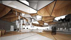 Flagship store / event space parametric design, parametric architecture, in Parametric Architecture, Parametric Design, Interior Architecture, Modern Interior Design, Interior Design Inspiration, Airport Design, Classic Ceiling, Futuristic Interior, Restaurants