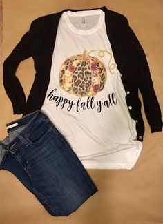 71e868fd17f Happy Fall Y all Leopard Pumpkin Shirt! Perfect shirt to celebrate the best  season
