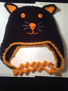 Black and Orange Halloween Kitty Cat Hat by DorysDivineDesigns, $25.00