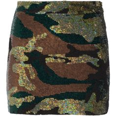Ashish Camouflage-sequined silk-georgette mini skirt ($660) ❤ liked on Polyvore featuring skirts, mini skirts, army green, short skirts, camo mini skirt, brown mini skirt, olive skirt and camouflage skirt