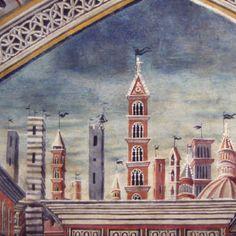 Benvenuto di Giovanni - Predicazione di San Bernardino, dettaglio -affresco - 1490 circa - Siena, Battistero di San Giovanni