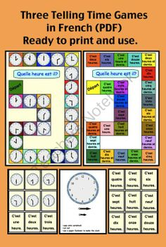 Three Telling Time Games in French (PDF) Ready to print and play. from Edit Points Graphics on TeachersNotebook.com -  (10 pages)  - Three Telling Time Games in French (PDF) Ready to print and play.