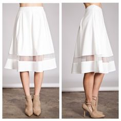 """White skirt White skirt. Brand new without tags. Fully lined with a zipper closure in the back. 65% cotton/ 35% polyester SMALL: 22"""" long/ 26"""" waistband MEDIUM: 23"""" long/ 29"""" waistband LARGE: 23"""" long/ 32"""" waistband Price is firm unless bundled. No tradesAvailability- S•M•L • 2•2•2              ⭐⭐️This is a retail item. It is brand new either with manufacturers tags, boutique tags, or in original packaging. Skirts A-Line or Full"""